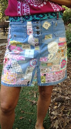denim hippie jean skirt recycled patchwork applique vintage lace embellished upcycled