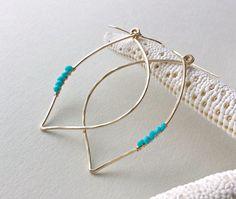 Turquoise Leaf Hoop Earrings Gold Leaf by BellaAnelaJewelry