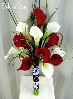 Wedding Bouquet real touch red white calla lily bridal bouquet. $90.00, via Etsy.