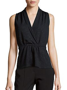 b48acc289dabf Collective Concepts V-Neck Sleeveless Embellished Top - Navy - Size