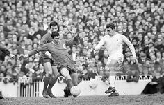 9th March 1968. Tottenham Hotspur striker Martin Chivers plays the ball past Liverpool duo Ron Yeats and Tommy Smith, during their FA Cup 5th round match at White Hart Lane.