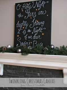 Twinkling Christmas Canvas Art - Clean and Scentsible.. Make on foamcore with a white paint pen and punch lights thru.