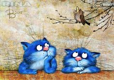 Blue cats of Rina Zeniuk Splat Le Chat, Image Chat, Photo Chat, Cat Quilt, Blue Cats, Cat Drawing, Whimsical Art, Dog Art, Crazy Cats