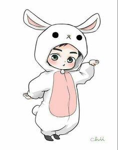 Suho the Adorable Bunny Kpop Exo, Suho Exo, Kaisoo, Chibi Exo, Exo Cartoon, Exo Stickers, Exo Anime, Exo Fan Art, Exo Luxion