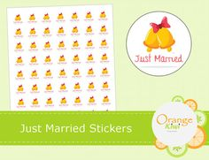 Just Married Stickers Wedding Treat Bag by OrangeKiwiDesign Wedding Envelopes, Wedding Stickers, Treat Bags, Just Married, All Design, Treats, Goodie Bags, Sweet Like Candy, Wedding Wraps