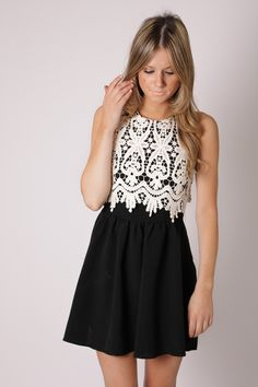 annabella lace cocktail dress- black with cream lace
