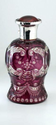 1921 Amethyst overlay crystal scent bottle
