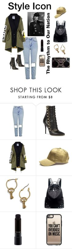 """""""JANET: STYLE ICON"""" by kadylady1 ❤ liked on Polyvore featuring Topshop, Balmain, Moschino, Tory Burch, Chicnova Fashion, MAC Cosmetics and Casetify"""