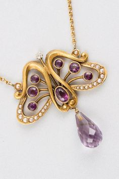 18K Matte Finish Yellow Gold, Amethyst, Seed Pearl Diamond Butterfly Pendant.