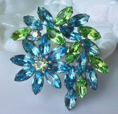 Light Blue and Green Rhinestone Brooch by junquegrl on Etsy