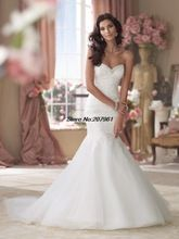 Sexy Organza Wedding Dresses 2016 Sweetheart Mermaid Lace Bodice Bridal Gowns back lace-up(China (Mainland))