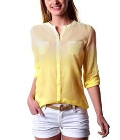 Embroidered shirt top light lemon - Promod