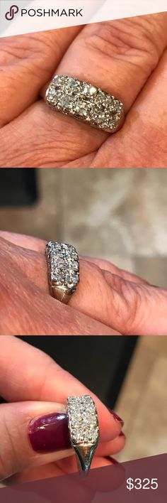 14 karat white gold antique diamond ring Beautiful and sparkly vintage diamond ring. 1/3 karat genuine diamonds. Stamped 14 K.  Size 5.75 Jewelry Rings