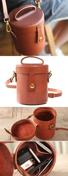 Handmade Leather Cylinder Shaped Coin Purse Smart Phone Travel Shoulder Bag