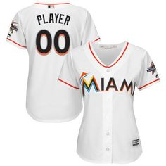 Women Miami Marlins Majestic White 2017 Cool Base Custom MLB Jersey with All -Star Game Patch 62fcb81ee2