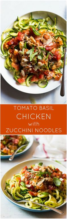 Tomato Basil Chicken with Zucchini Noodles - quickest 30 minute meal with clean ingredients Veggie Noodles, Zucchini Noodles, Chicken Noodles, Bake Zucchini, Paleo Recipes, Cooking Recipes, Tapas Recipes, Crab Recipes, Paleo Meals