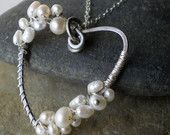 Heart Pearl Necklace, wire wrapped, sterling silver