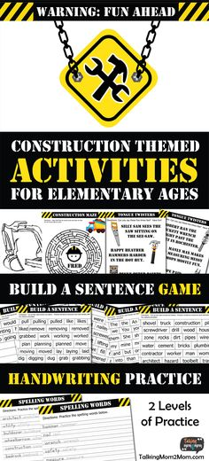 Construction Themed Activities for Elementary Kids Tongue Twisters For Kids, Free Homeschool Curriculum, Homeschooling, Basic Grammar, Construction Theme, Learning To Write, Teaching Kids, Encouragement, Unit Studies