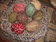 Fabric covered eggs (made from cheap plastic Easter eggs)