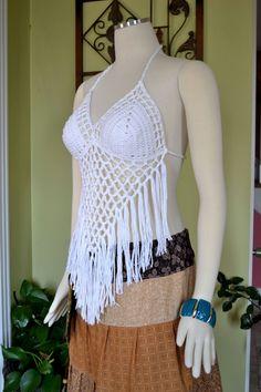 Crochet Fringe Halter Top / Festival Top / Gypsy by OrawanCrochet, $35.00