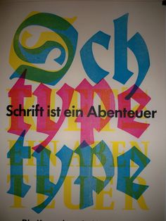CMYK Blackletter type poster at the Gutenberg Museum in Mainz, Germany.