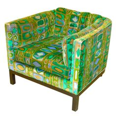 Edward Wormley for Dunbar Cube Club Chair. Original Jack Lenor Larsen print in velvet, mahogany base, Dunbar fabric label.
