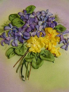 Nosegay of ribbon embroidery violets