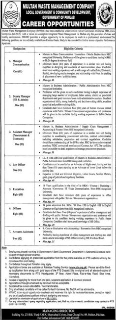 Product Management Jobs in Multan Waste Management Company 2021