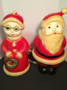 Vintage Blow Mold Santa And Mrs Claus by by VintageFunkHouser, $57.99