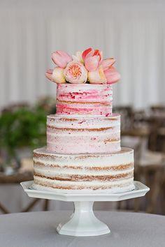 Naked cake, pink airbrushing, tulips, three tiers, peonies // La Vie Photography