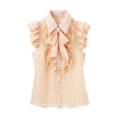 [RyuRyu] Pearl-Style Buttons Lace Paneled Bowtie Blouse Summer 2013 New Item, Ladies' (¥4,370) found on Polyvore