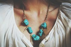 Nevada necklace  turquoise howlite pendant goldtone by thisOutfit
