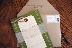 Megan + Mike's Chevron Stripe and Stitched Save the Dates