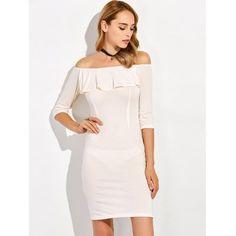 Flounce Off The Shoulder Slit Sheath Dress #jewelry, #women, #men, #hats, #watches, #belts, #fashion