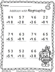 Christmas Math--Addition with regrouping grade math worksheetsChristmas Freebie. Christmas Math--Addition with regrouping -FREE- Christmas Math Worksheets, Math Addition Worksheets, First Grade Math Worksheets, Second Grade Math, Kindergarten Worksheets, In Kindergarten, Place Value Worksheets, Multiplication Worksheets, Math Pages