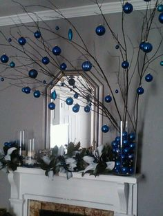 50 Blue Christmas Decor Ideas That Speaks of Style and Grace Effortlessly - Hike n Dip Turquoise Christmas, Silver Christmas Tree, Christmas Mantels, Christmas Home, White Christmas, Christmas Trees, Christmas Villages, Victorian Christmas, Vintage Christmas