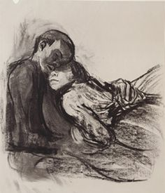 "Lovers Snuggled Up, charcoal, by Käthe Kollwitz, c1909-1910. This is one of just a few so called 'Secreta', drawings of lovers which Kollwitz refused to be allowed to be publicly seen during her lifetime. Even now they are little known. in 1920 she said in her diary ""Only the folder for Death II contained beautiful drawings. And, of course, the Secreta, but I'm not going to sell them or show them. I do not know what should happen to them after my death."""