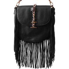 Liquorish Black Fringed Cross Body Bag ($55) ❤ liked on Polyvore