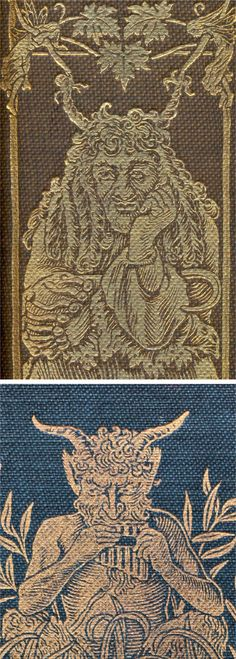 Top. Illustration on spine of 'Peter and Wendy' by J M Barrie (1911) showing Captain Hook with 'horns' made by fairies pulling at his hair.   Bottom. Illustration on front cover of 'Wind in the Willows' by Kenneth Grahame (1908) showing the satyr Pan playing Panpipes. Both books compare Man in his 'Natural' and his 'Civilised' state.