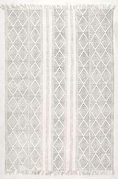 ChembraCH07 Block Printed Cotton Flatweave Concentric Diamonds Rug