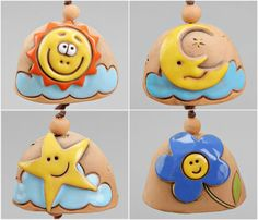 Ceramic small bell with face: sun moon blue flower by Molinukas
