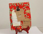 Gift wrap set, red paper with mint vines, kraft paper gift tag, 2 yards of yarn, FREE SHIPPING until Nov. 20