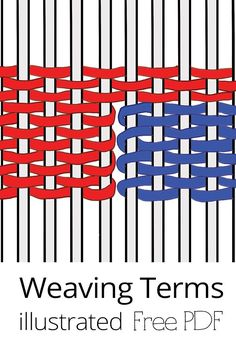 Perfect for beginnings weavers, weaving terms explained in downloadable pdf. Weaving Loom Diy, Tablet Weaving, Bead Weaving, Swedish Weaving Patterns, Basket Weaving Patterns, Weaving Wall Hanging, Weaving Projects, Art Projects, Fibre And Fabric