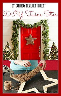 DIY Twine Star - 12 Jolly DIY Door Displays to Greet Christmas Houseguests! | GleamItUp