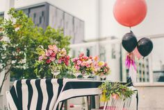 black, white, and coral Striped Wedding, Birthday Dinners, Bold Stripes, House And Home Magazine, Party Time, Color Pop, Entertaining, Table Decorations, Holiday