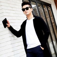 In the spring of 2017 new long cardigan sweater jacket men s casual sweater no buckle