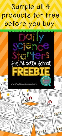 Sample the Daily Science Starters products for FREE before you buy!  Each question is aligned to the state standards and will get your students prepared for the state standardized test one question at a time.  Science Teaching Junkie