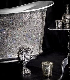 Custom Swarovski crystal studded antique claw foot bath tub | The House of Beccaria#