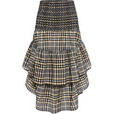 Ganni - Charron Tired Ruffle Plaid Midi Skirt (1 985 SEK) ❤ liked on Polyvore featuring skirts, elastic waistband skirt, tiered skirt, midi skirt, tiered ruffle skirt and tartan plaid skirt