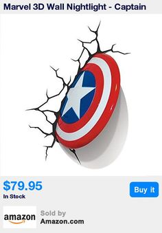 Light up your boy's bedroom with this 3D Captain America wall nightlight. * The cracked sticker behind this 3D deco lamp makes it look like the superheros shield has crashed through the wall. * The Captain America night lamp is made of plastic. It uses a LED bulb. Powered by 3 AA alkaline batteries (not included). * Number of Pieces: 1 Light Bulb ; Type: LED; Bulb Life: 5.7 years; Material: Plastic * Power Source: Batteries; Dimensions: 6.89 H x 10.67 W x 1.10 D; Warranty Description: 1 Year